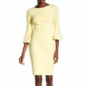 Calvin Klein yellow bell sleeve crepe dress sz 4